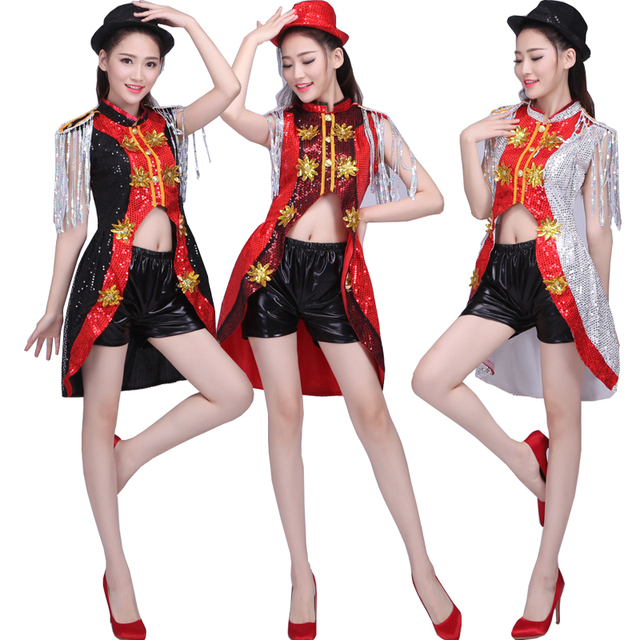 a364635abb07 Female Modern Jazz dance costumes Girls Sequined Hip Hop dancewear ...