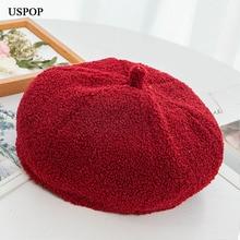 USPOP 2019 New winter hats for women polar fleece berets female thick warm solid color