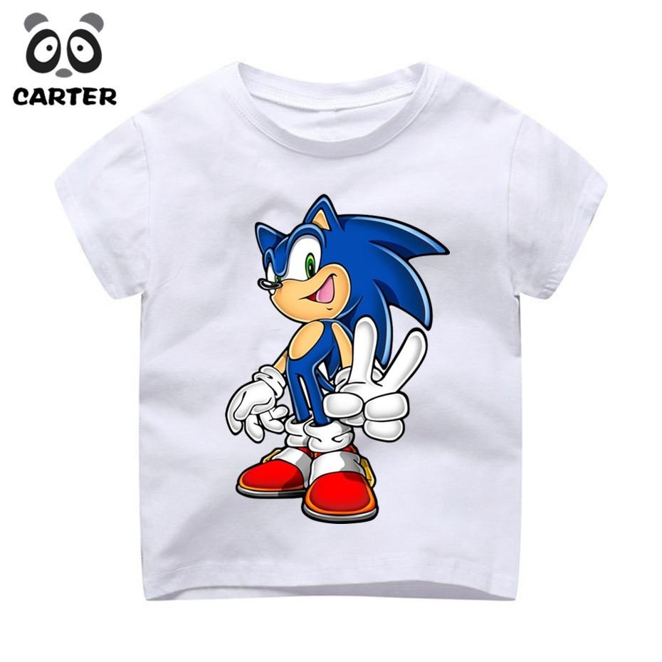 Children Sonic The Hedgehog Cartoon Design Enfant T-Shirt Boys and Girls Summer Short Sleeve Tops Kids Cute Tshirt Camiseta