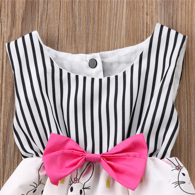 Baby Girl Bunny Rabbit Striped Sleeveless Romper