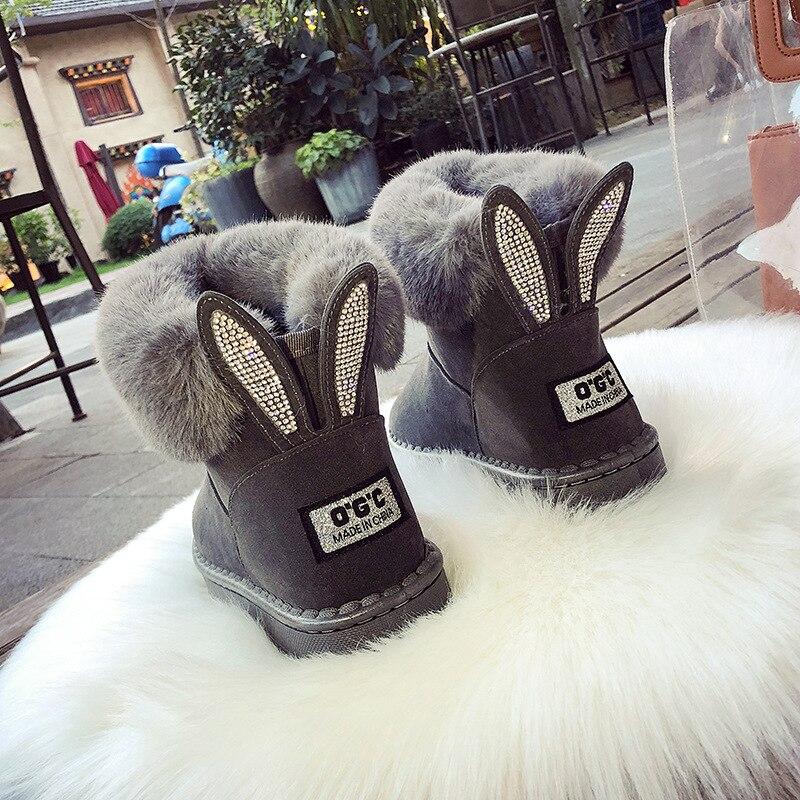 CHAISHOU 2018 חורף נשי rhinestones להתחמם בתוספת קטיפה שלג מגפי פרווה מגפיים חשופים שטוח מזדמן נקבה מגפי zapatos mujer