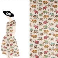 2017 New Fashion Vintage Japanese Cotton Fabric Printed Quilt Handmade DIY Patchwork Mandala Auspicious Elephant Kimono