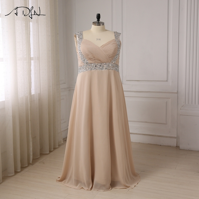 ADLN Evening Dresses Plus Size Long Cap Sleeve Beaded Crystals Floor ...