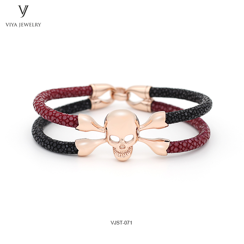 Red Wine&Black Stingray Leather Handmade Men Bracelets DIY Skull Bracelet Luxury Stingray Leather Skull Bracelet For Boyfriend все цены
