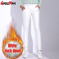 Winter Pants Women High Waist White Pants For Women 2019 Warm Pantaloon Plus Size Trousers Elastic Waist Casual Bottom GAREMAY