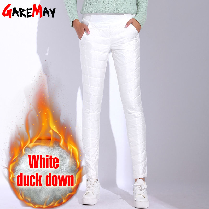 Winter Pants Women High Waist White Pants For Women 2017 Warm Pantaloon Plus Size Trousers Elastic Waist Casual Bottom GAREMAY