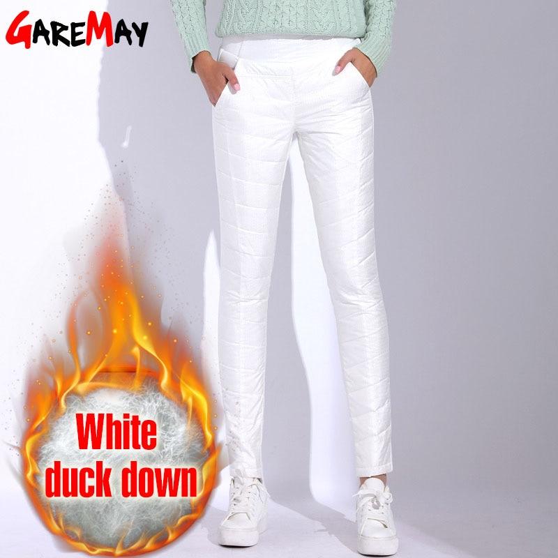 Winter Pants Women High Waist White Pants For Women 2018 Warm Pantaloon Plus Size Trousers Elastic Waist Casual Bottom GAREMAY
