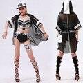 2016 случайный верхняя одежда Джаз Свободно Черный С Капюшоном Толстовки костюм танец хип-хоп прозрачная Сексуальная выдалбливают Долго лоскутное куртка