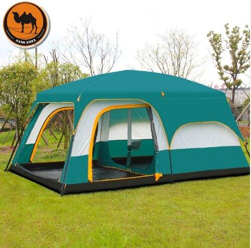 Верблюд сверхбольших 6 10 12 двойной слой Открытый 2 гостиных и 1 зал семейная палатка в наивысшего качества большой пространство палатки