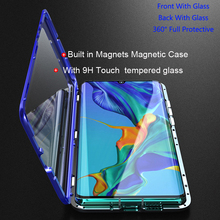For Huawei P30 Pro Magnetic Case 360 Front+Back double-sided 9H Tempered Glass Case for Huawei P30 Pro Metal Bumper Case P30Pro for huawei p30 pro magnetic case 360 double sided tempered glass case for huawei mate 20 pro p20 pro p smart z metal bumper case