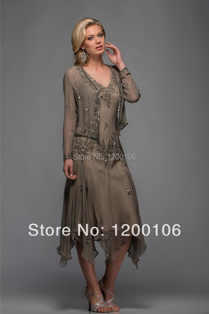 Aliexpress.com : Buy Elegant A Line Appliqued V Neck Long Sleeves ...