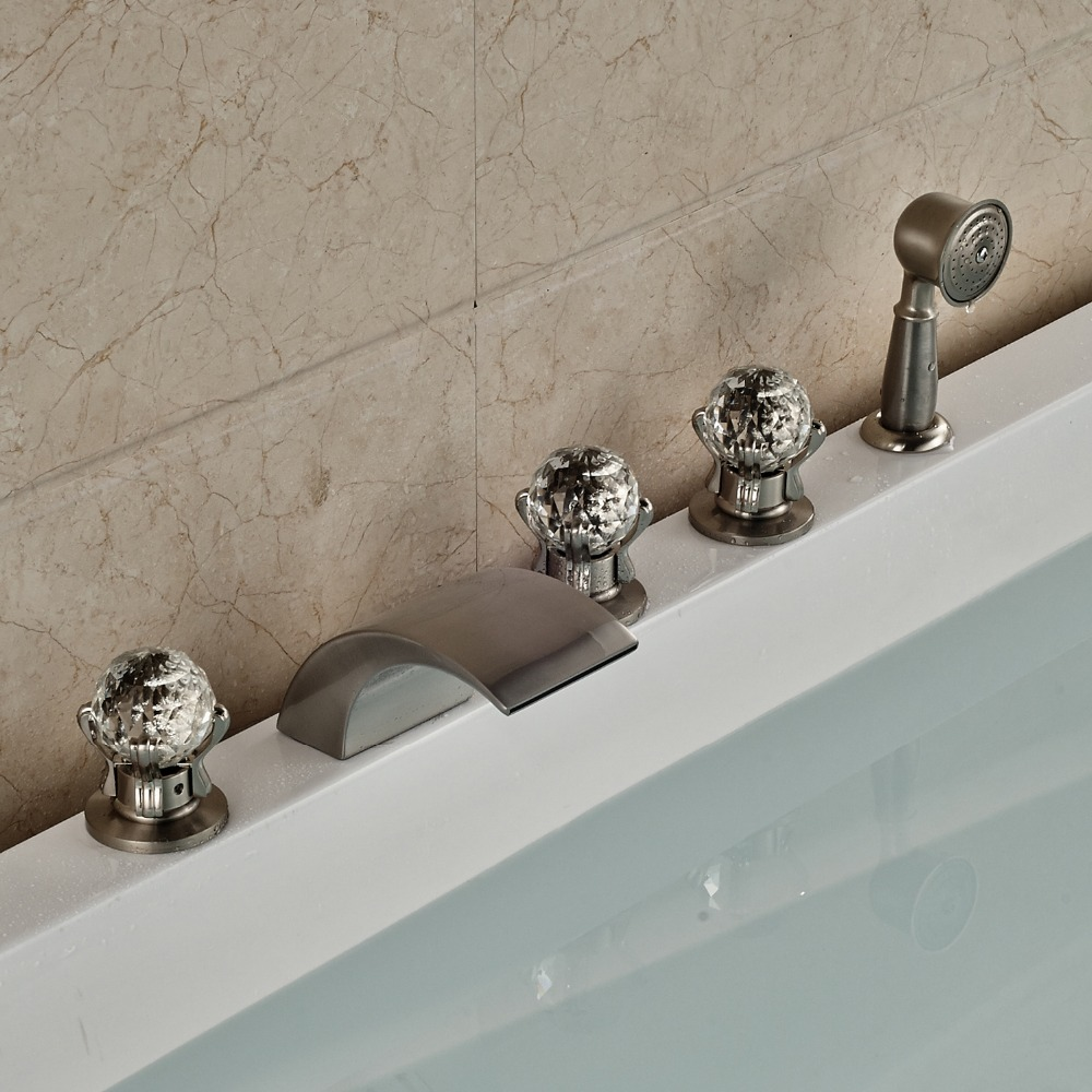 Contemporary Style Nickel Brushed Finished Deck Mounted Bathroom Tub Faucet With Hand Shower