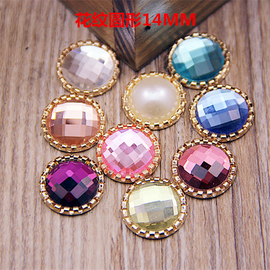 wholesale 100PCS 17MM Inner Size 14MM Faceted Round Flatback Crystal Button  Sticker Patch Fit for Hair Jewelry Bow Center Decor 330f59df6471