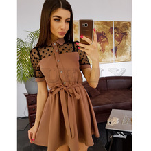 Cuerly Women Sexy Lace Patchwork Mini Dress Turn-down Collar Sashes A line Party 2019 Elegant Vintage Short Dresses
