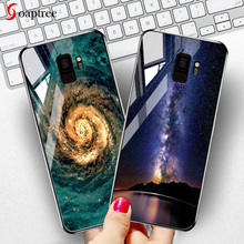 Soaptree Tempered Glass Case for Samsung Galaxy S8 S9 Plus Cases Star Space Cartoon Patterned Covers For Note 8