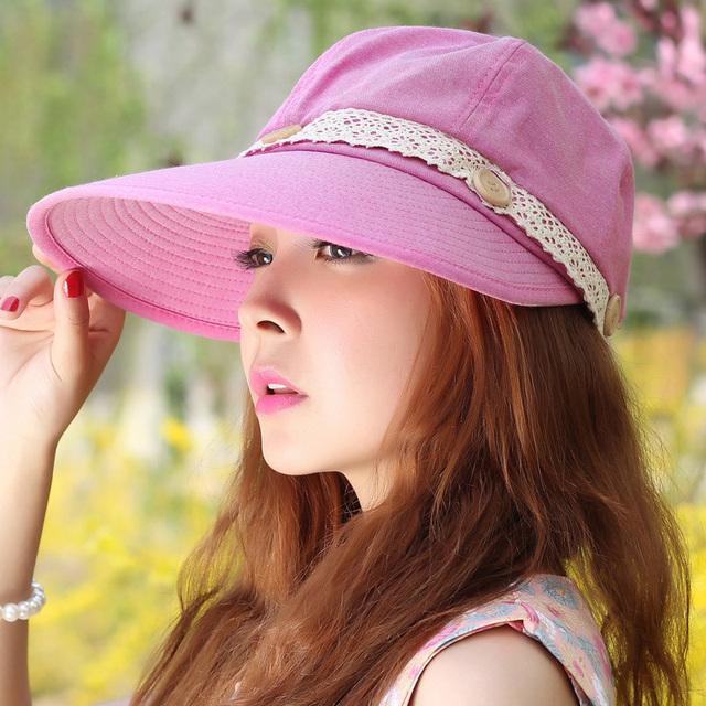 Sombrero femenino sunbonnet del verano casquillo de la playa anti-ultravioleta de protección solar del verano sombrero desmontar grande a lo largo del envío libre