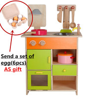 Baby Educational Toys Furniture Set Simulation Kitchen Wooden Toy Food Set Assemble Play House Baby Birthday Gift