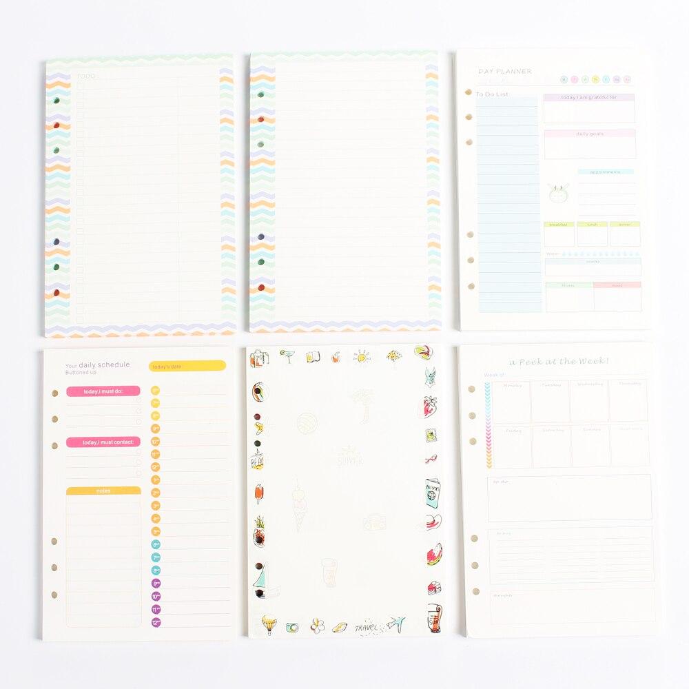 Neue original kreative 6 löcher spirale notebooks inneren papier core/nachfüllen papier: linie, blank, täglich planer, wöchentlich planer A5 A6