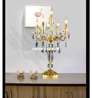 Европейский современный 100% Медь Изысканная настольная лампа Кристалл Настольная лампа полностью Бронзовый стиль спальня прикроватной тум