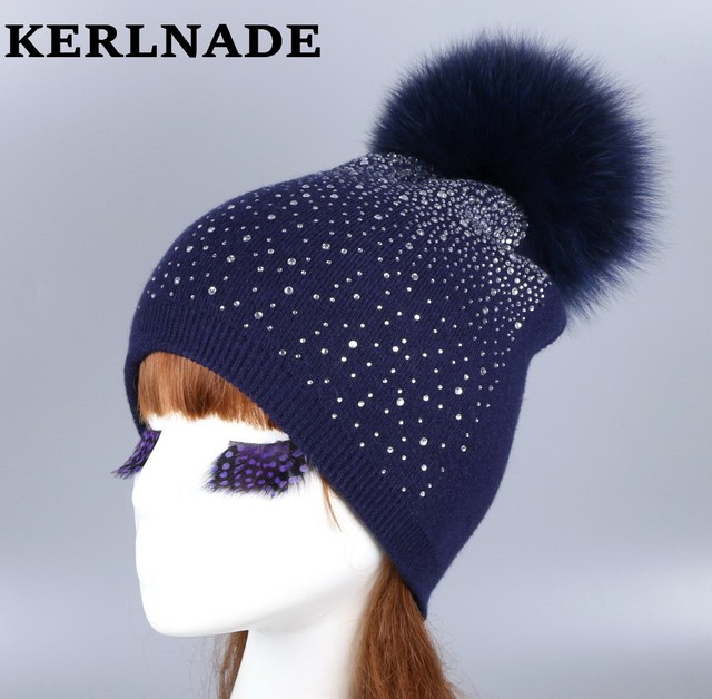 b2931047ddd wholesale women fashion wool winter hat with fox mink pompom luxury  rhinestone skullies girl beauty beanies woman casual gorros