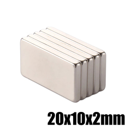 5 piezas 20x10x2mm Super potente pequeño bloque de imán de neodimio permanente N35 NdFeB fuerte Cuboid magnético imanes de 20mm x 10mm x 10mm x 2mm