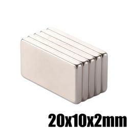 5 шт. 20x10x2 мм супер мощный небольшой Неодимовый магнит блок постоянного N35 NdFeB сильный кубовидной Магнитная магниты 20 мм x 10 мм х 2 мм