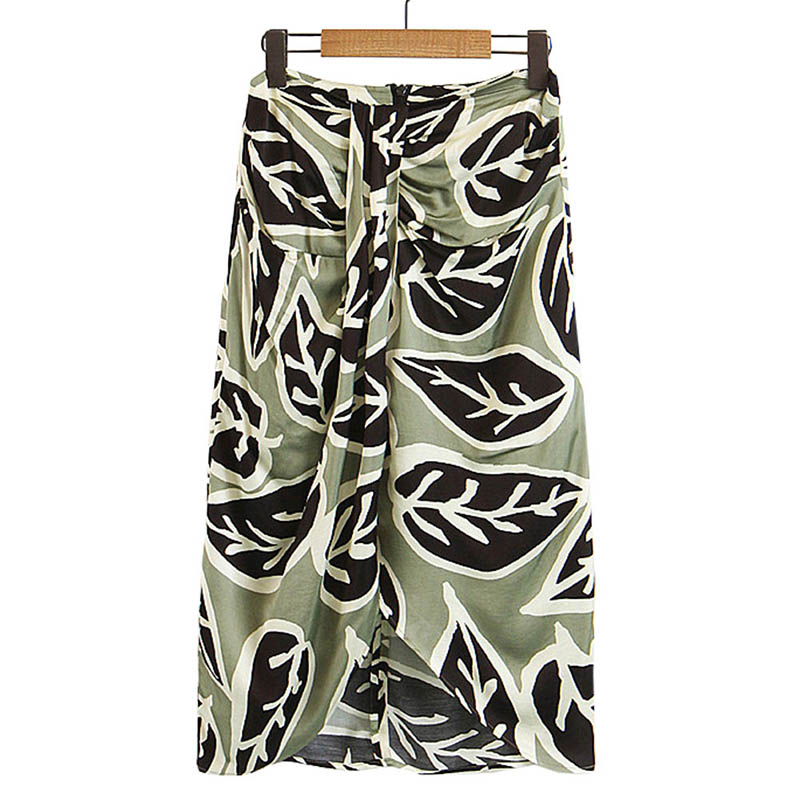2018 New Women Vintage Leaves Print Knotted Midi Hip Package Skirt Ladies Fashion Back Zipper Casual Slim Pleated Brand Skirts