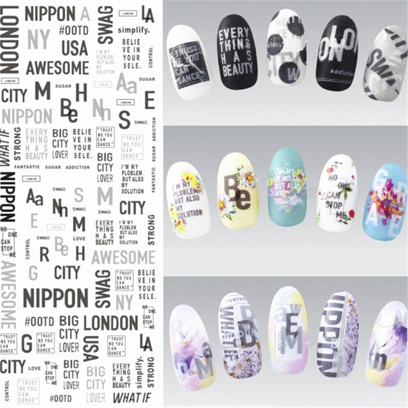 1 Sheet English Nail Art Stickers Water Decals Transfer Manicure Marble Design Sticker In From Beauty Health On