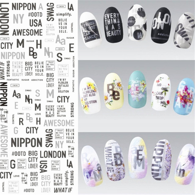 1 Sheet English Nail Art Stickers Water Decals Transfer Stickers ...