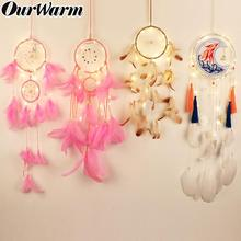 OurWarm LED Light Dream Catcher Wind Chimes for Bedroom Decor Wall Hanging Birthday Gift Pink Dreamcatcher Room