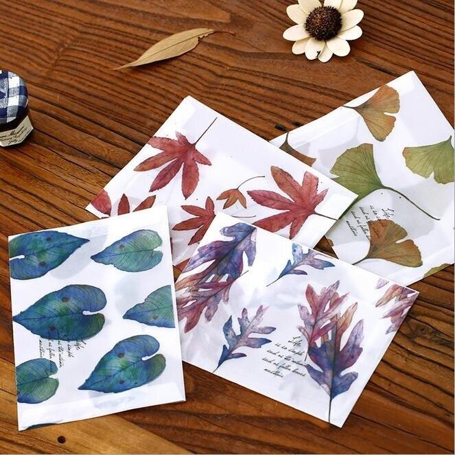 8pcs/lot 16*11cm Sulfuric Acid Paper Envelope Leaves Pattern Transparent Window Envelope For Greeting Cards Cover