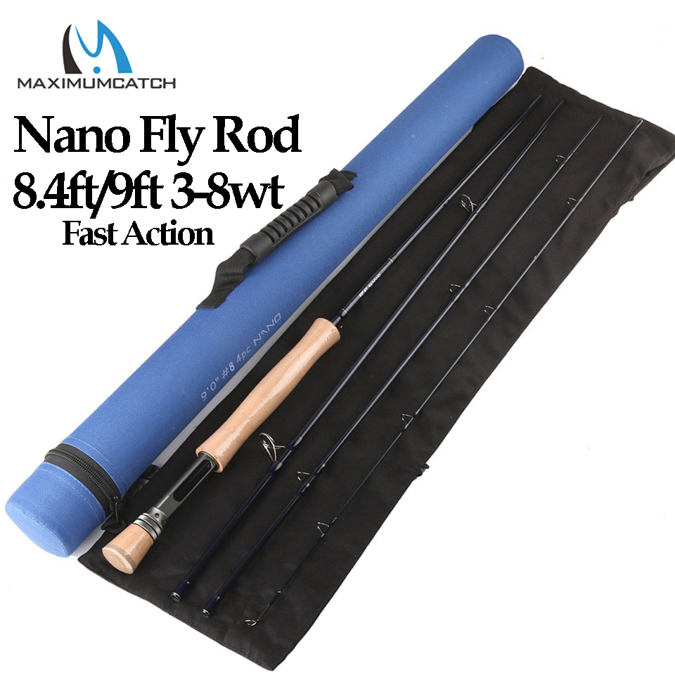 Maximcatch Nano 3/4/5/6/7/8wt 4 piezas Barra de mosca de acción rápida 8.4ft /9ft IM12 caña de pescar de fibra de carbono con tubo de Cordura
