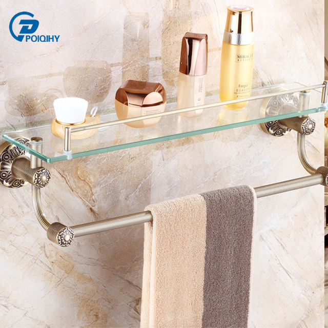 US $77.0 40% OFF POIQIHY Antike Messing Handtuchhalter für Badezimmer  Edelstahl Badetuch Regal mit Glasplatte Single Layer Bad Regale in POIQIHY  ...