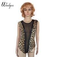 Wendywu Modne Sexy Leopard Wydrukowano Kobiety Bez Rękawów Bodycon Body Teddy