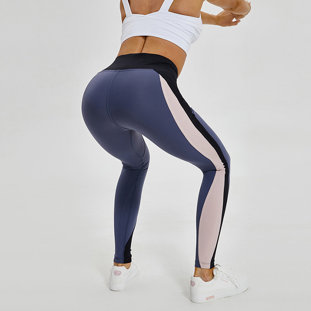 67b8d61d9fa84 New High Waist Booty Color Block Compression Yoga Leggings For Women Tummy  Control Gym Fitness Pants Squat Proof Sport Tights