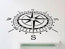 Bússola náutica vinil adesivos de parede quarto das crianças menino quarto escritório sala de estar decoração de casa arte decalque da parede 1HH2