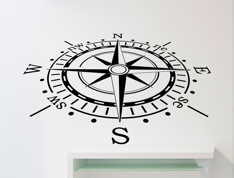 Nautical compass vinyl wall stickers children's room boy bedroom living room office home decoration art wall decal 1HH2-in Wall Stickers from Home & Garden