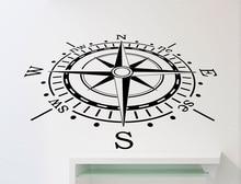 Nautische kompas vinyl muurstickers kinderkamer jongen slaapkamer woonkamer kantoor home decoratie art muurtattoo 1HH2