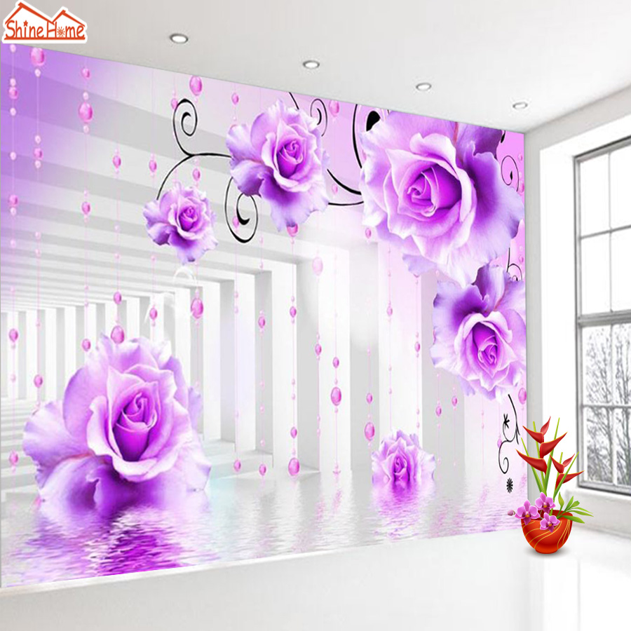 ShineHome-Brick Wallpapers Rolls Purple Rose Floral 3d Room Wallpaper for Walls 3 d Livingroom Wall Mural Roll Paper Home Decor shinehome waterfall wallpaper rolls wallpapers 3d kids room wall paper murals for walls 3 d wallpapers for livingroom mural roll
