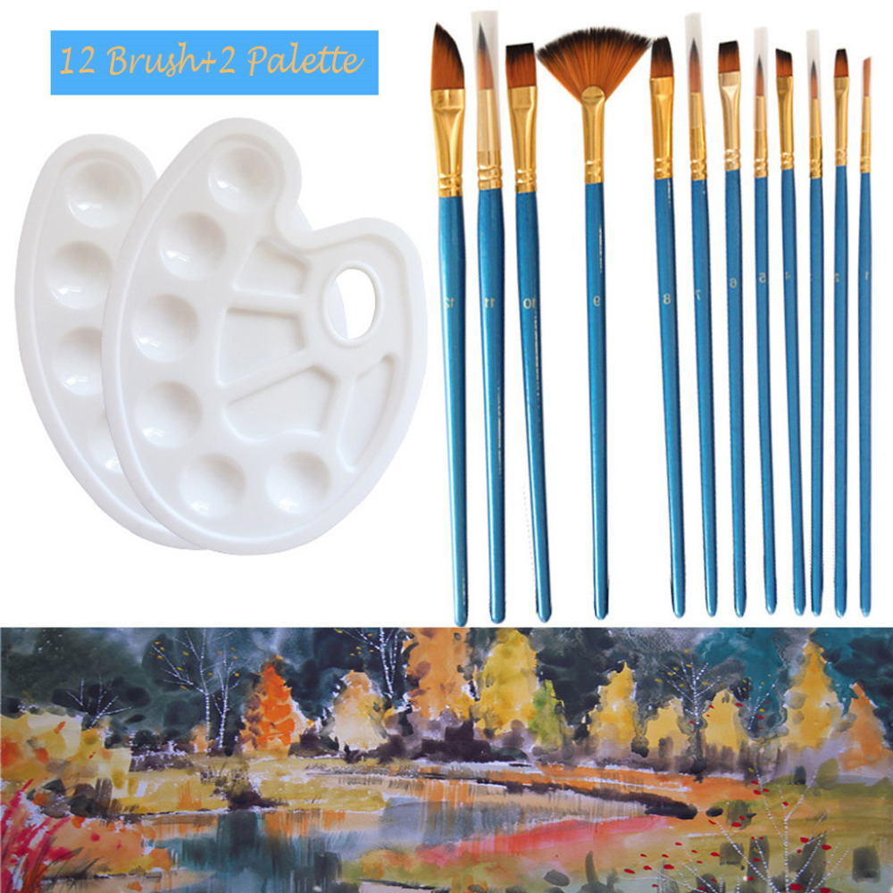 Artist Paint Brushes 12 Pieces Nylon Hair Brush Set With 2 Piece Paint Tray Pale