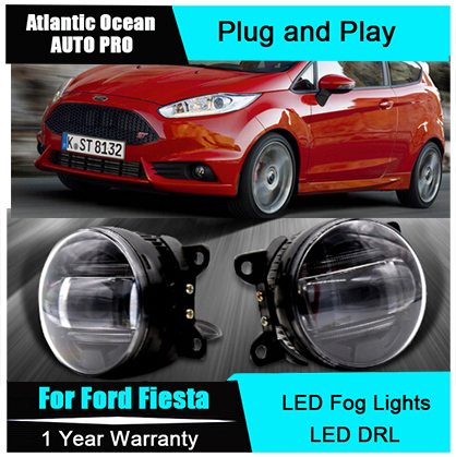 Auto Pro Car Styling LED fog lamps For Ford Fiesta led DRL with lens LED fog lights and daytime running light bar lights led front fog lights for honda cr v pilot 2012 2013 2014 car styling round bumper drl daytime running driving fog lamps