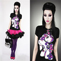Punk Rock Women Summer Style Purple Little Pony Funny Euro Top Short Sleeve T-shirt 3D Digital Printed Hip Hop Fitness Tee Shirt