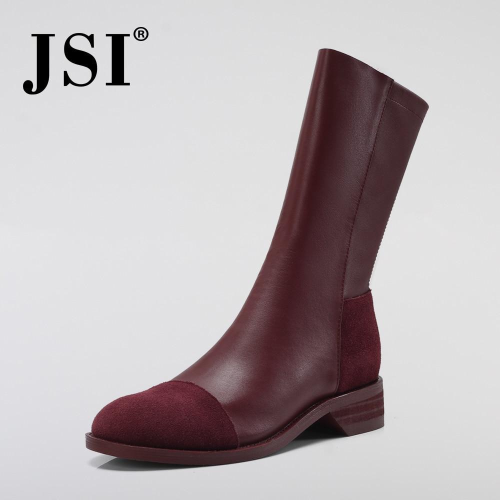 2 Jo30 Fashion Cm Marke Mischfarben Zipper Hohe Handgemachte Schuhe red Black Stiefel Ferse Jsi Frauen Qualität Quadratische Dame Kuh Leder Winter xn4WwUUp