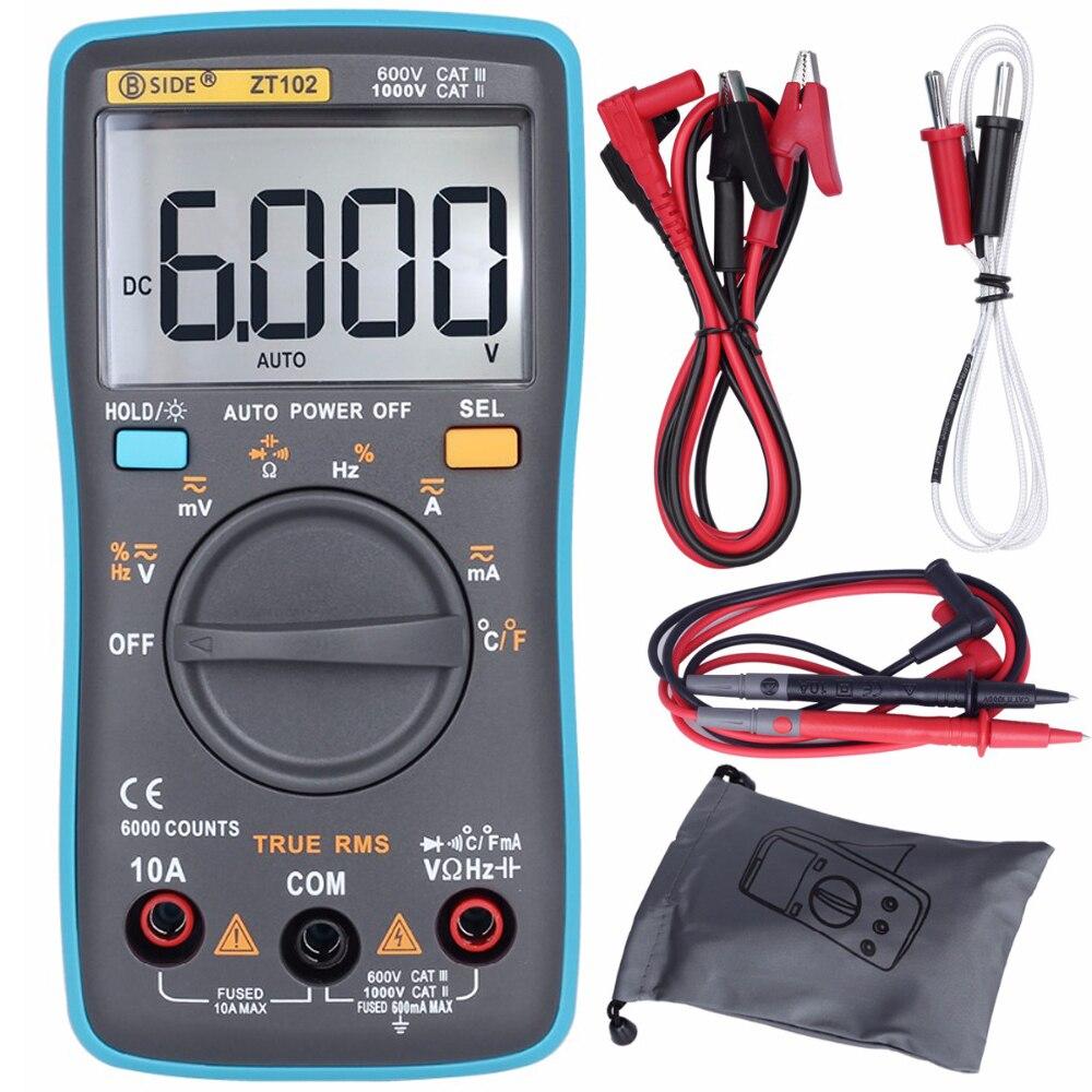 BSIDE Auto Range Digital-Multimeter ZT102 True Rms 6000 Zählt Voltmeter Amperemeter multimetro ohm Kapazität Tester gleiche RM102