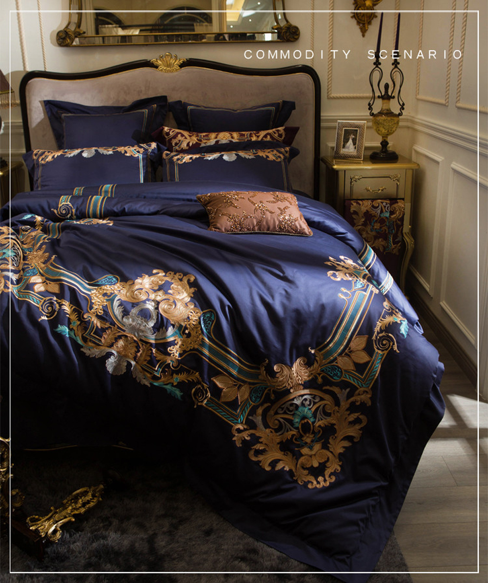 100S Egyptian cotton Luxury Oriental Embroidery Bedding Set Queen King Size 4pcs Bed sheet set Duvet cover Pillowcases blue red