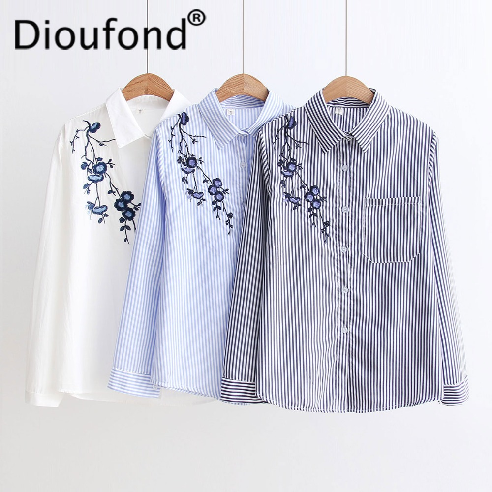 ba31d817380cfc Dioufond Women Embroidered Floral Striped Shirt White Blue Female blouse  Long Sleeve Blouses 2017 Autumn Casual
