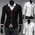 2014 nova primavera estilo Preppy clássico magro blusas ajuste dos homens roupas de manga Cardigan M-XXL