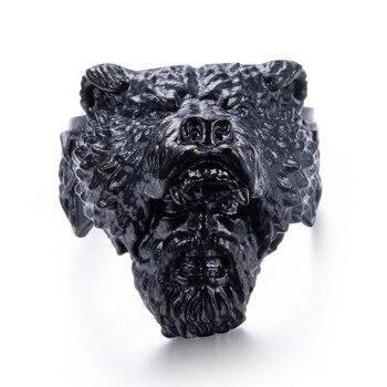 Прямая поставка размер 8 ~ 15 крутое модное кольцо с черным медведем для пожилых людей 316L ювелирный медведь из нержавеющей стали кольцо