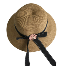 2019 summer new ladies sun hat simple casual solid color flower decorative bow breathable sunscreen sun hat