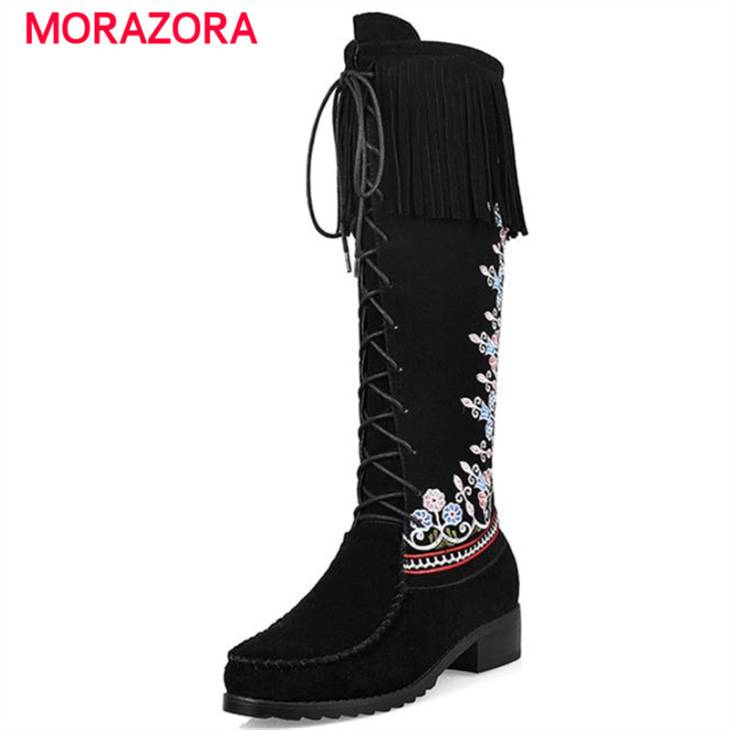 ФОТО MORAZORA New China's wind mid calf boots flowers embroidery autumn winter boots for women front zipper cow split boots